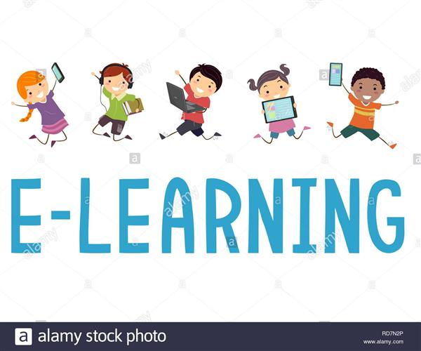 Cartoon kids jumping with eLearning words