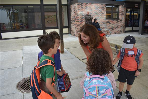 Greeting new faces at Primrose on the first day of school.
