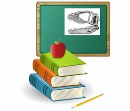 Books and blackboard with apple
