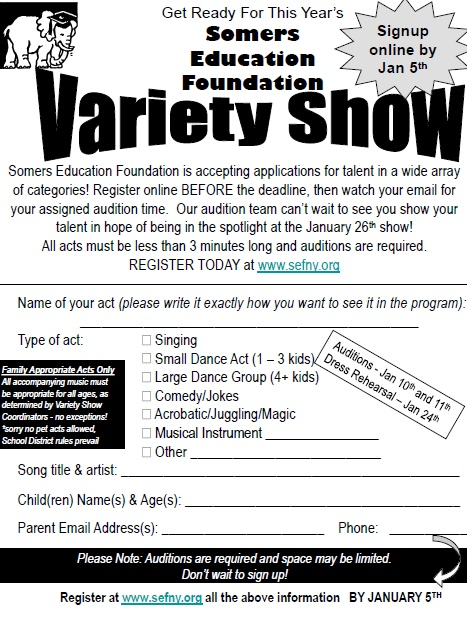 Somers Education Foundation Call for Talent on Now for 2018 Variety Show