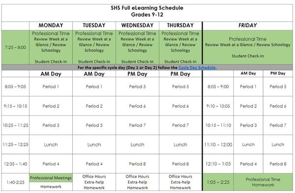 SHS REVISED ELEARNING SCHEDULE