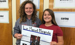 Middle school students celebrating Hispanic Heritage month